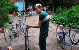Tommi Taipale is preparing recovered bycicles for the Journey to the Eclipse